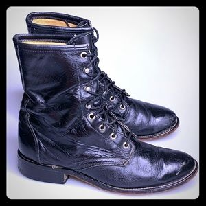 LAREDO LEATHER LACE UP COWBOY WESTERN BOOTS 8.5D